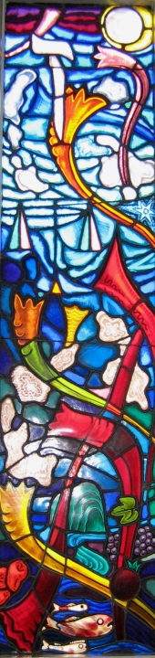 Stained glass depicting Rosh Hashanah.